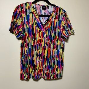 Lg v neck with short sleeves top multi colors